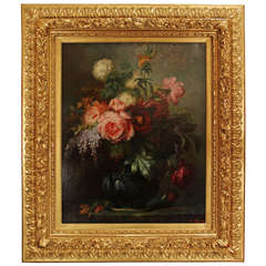 19th Century Oil on Canvas in a Louis XVI Giltwood Frame