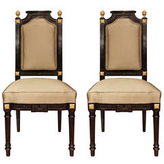 Pair of French 19th Century Napoleon III Period Louis XVI Style Chairs