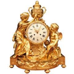 "French 19th Century Louis XVI Style Ormolu Clock Signed ""Beurdeley À Paris'"