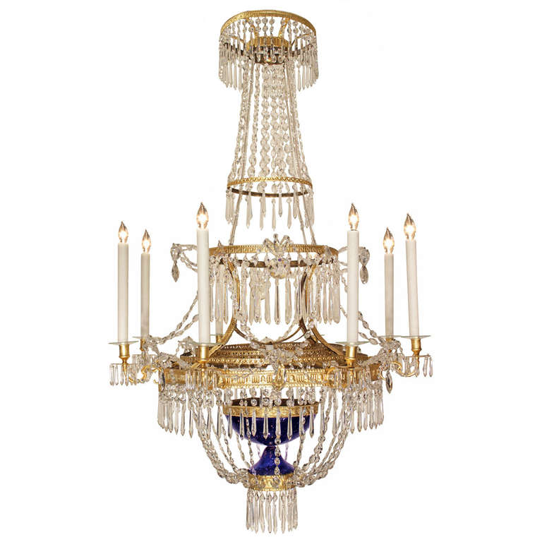 Russian Industrial Pendants: Russian 19th Century Crystal And Gilt Metal, Neoclassical