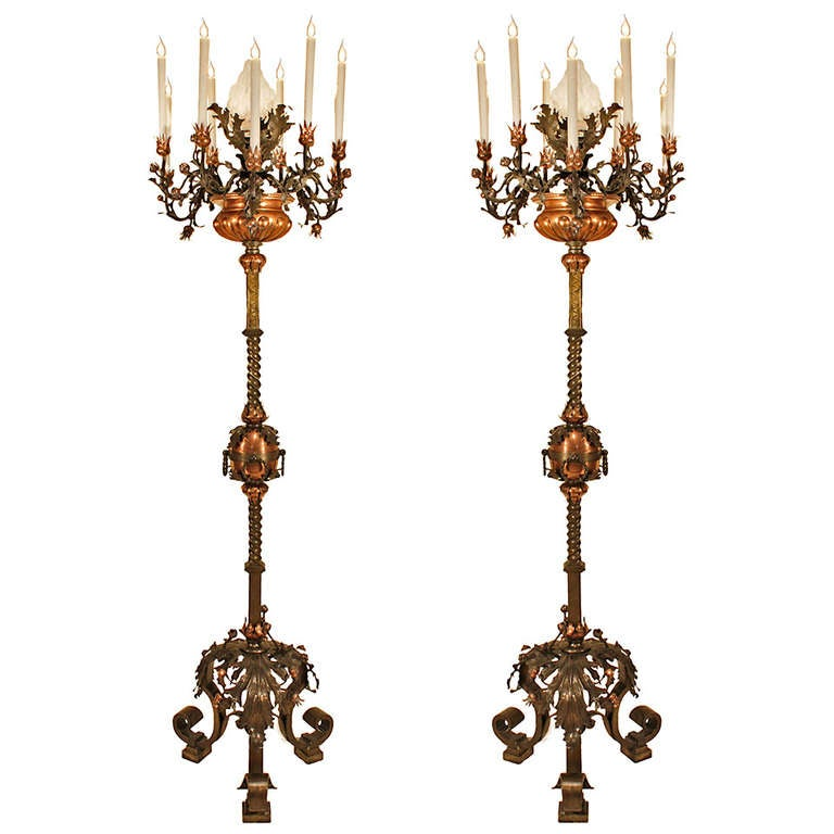 Pair of 19th Century Spanish Patinated Bronze and Copper Torchieres
