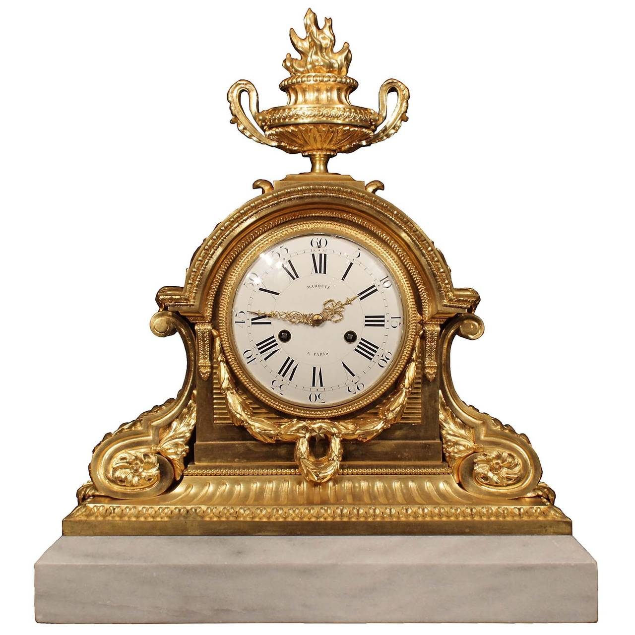 French 19th Century Louis XVI Style Ormolu and Marble Signed Clock For Sale