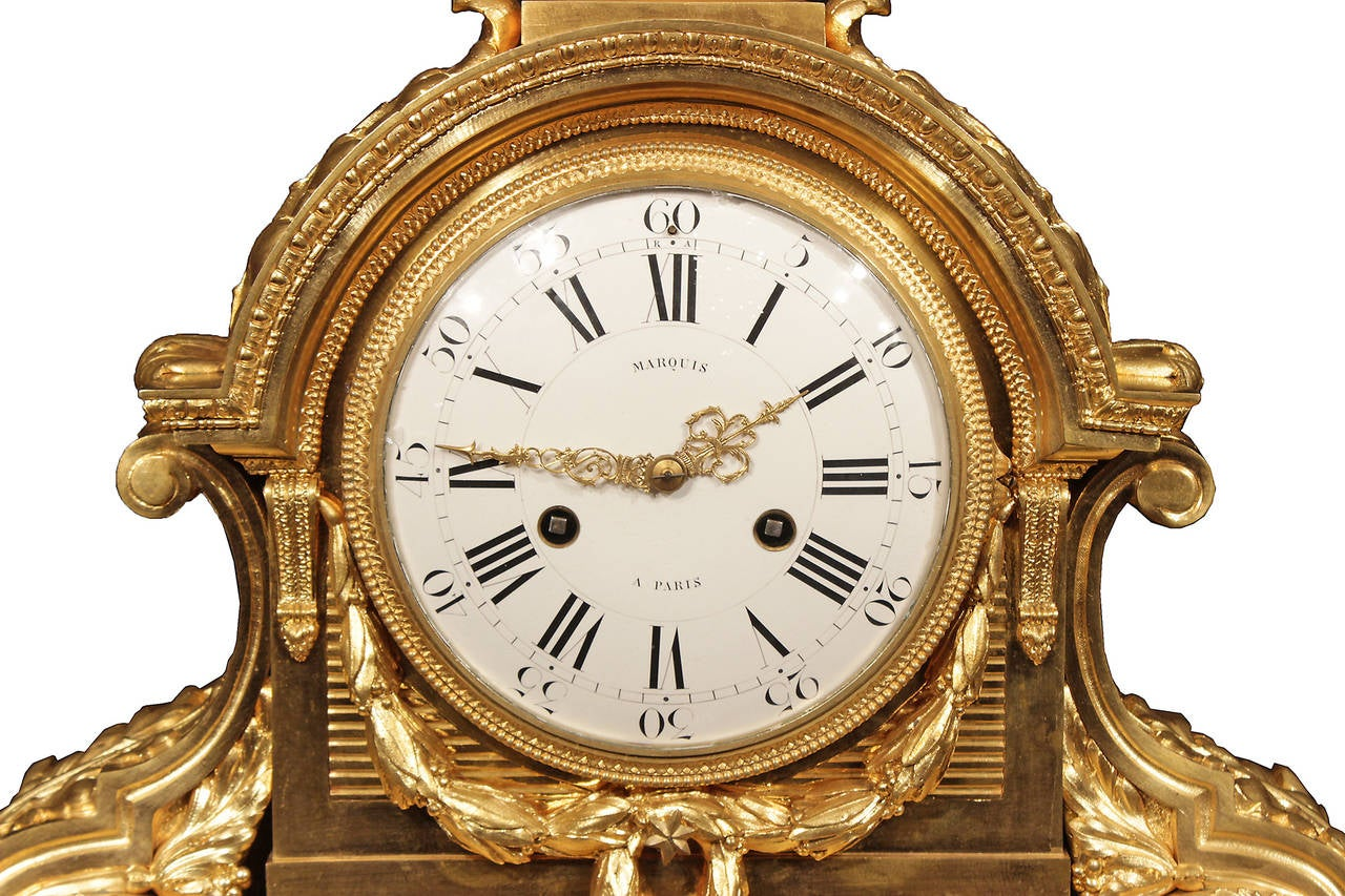 French 19th Century Louis XVI Style Ormolu and Marble Signed Clock For Sale 2