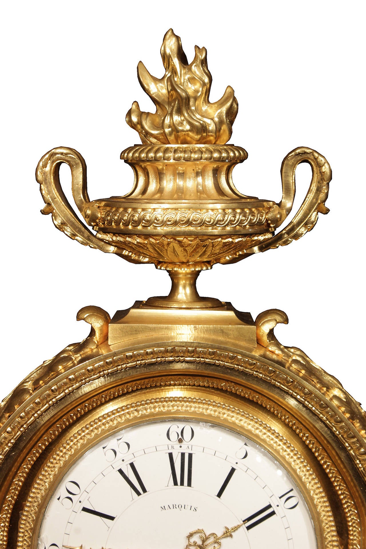French 19th Century Louis XVI Style Ormolu and Marble Signed Clock For Sale 1
