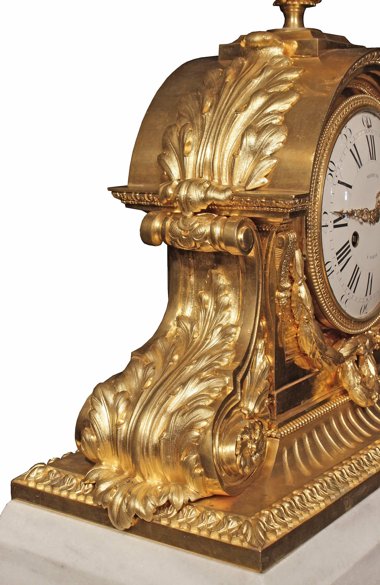 French 19th Century Louis XVI Style Ormolu and Marble Signed Clock For Sale 3