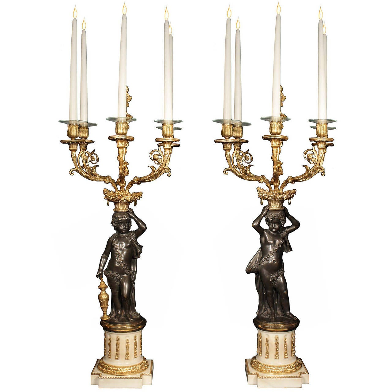 French 19th Century Louis XVI Style Patinated Bronze and Ormolu Candelabras