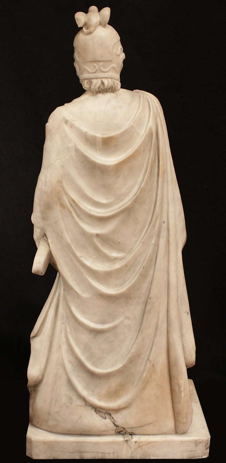 Italian 18th Century White Carrara Marble Statue Of A
