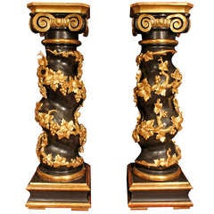 Pair of French, 19th Century, Louis XVI Style Patinated and Gilt Pedestals