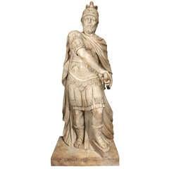 Italian 18th Century White Carrara Marble Statue Of A Roman Warrior