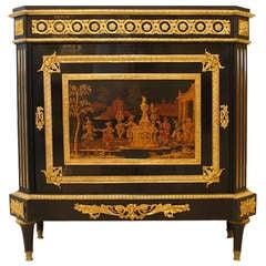 French Napoleon III Period One Door Cabinet Signed BEFORT JEUNE