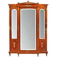French 19th Century Empire Style, Satinwood and Mahogany Armoire