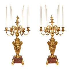 Pair of 19th Century, Louis XVI Ormolu and Marble Candelabras