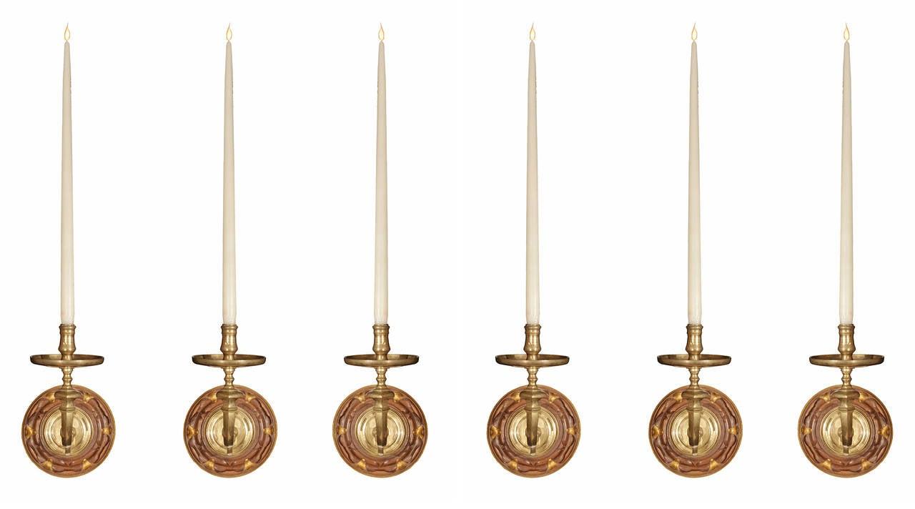 Set of Six Dutch 19th Century Brass, Walnut and Giltwood Sconces