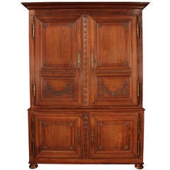 French 18th Century Louis XVI Period Honey Oak Armoire