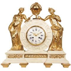 French 19th Century  Louis XVI Style White Carrara Marble Clock by Alix à Paris