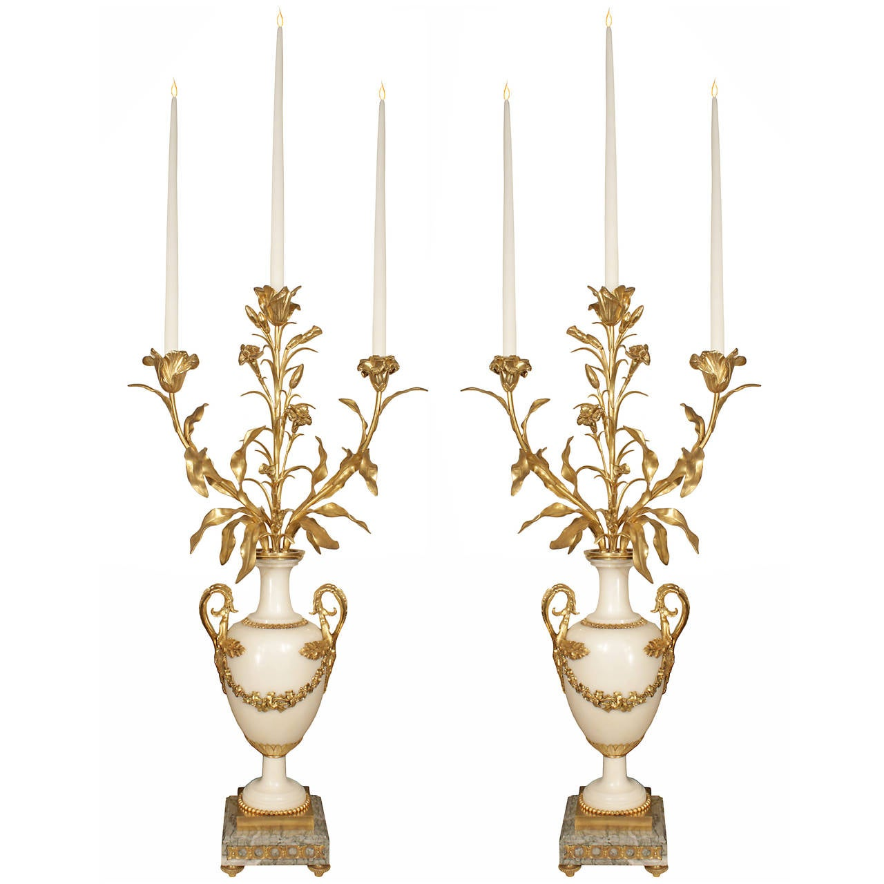 Pair of French 19th Century Louis XVI Style Marble and Ormolu Candelabras