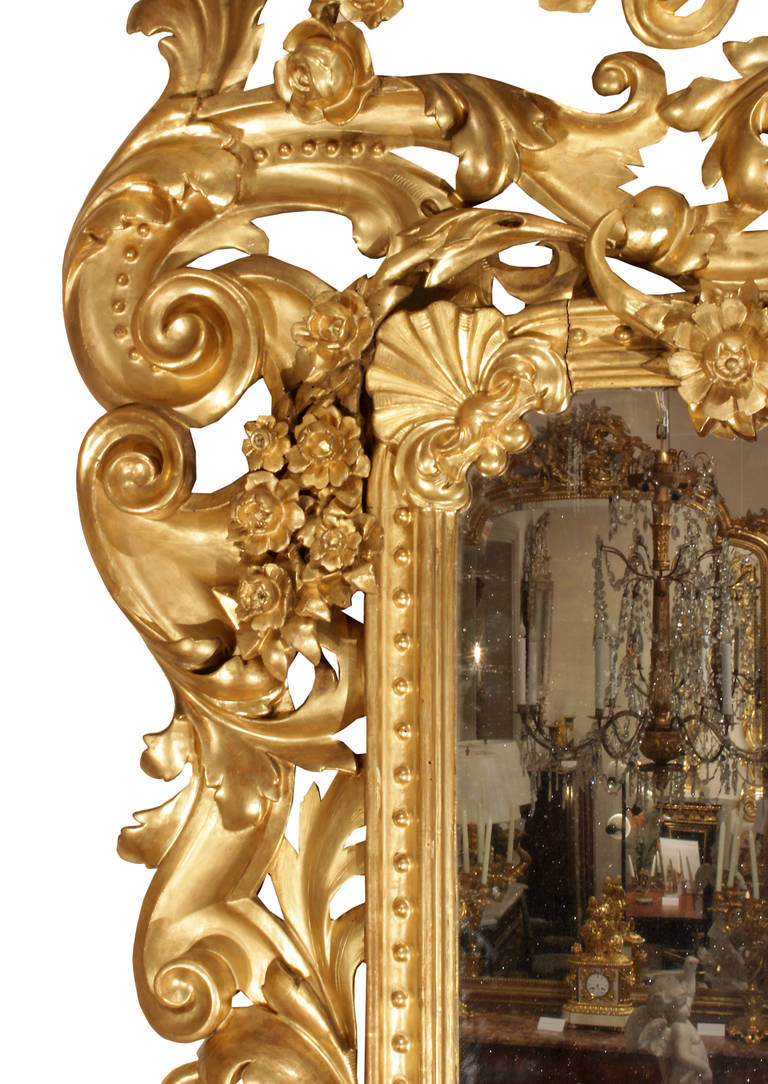 Carved Italian 19th Century Rococo Style Giltwood Mirror For Sale