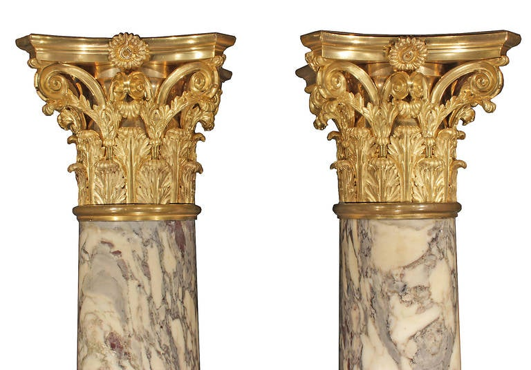 French 19th Century Fleur de Pêcher Marble and Ormolu Columns, Signed Sormani In Excellent Condition For Sale In West Palm Beach, FL