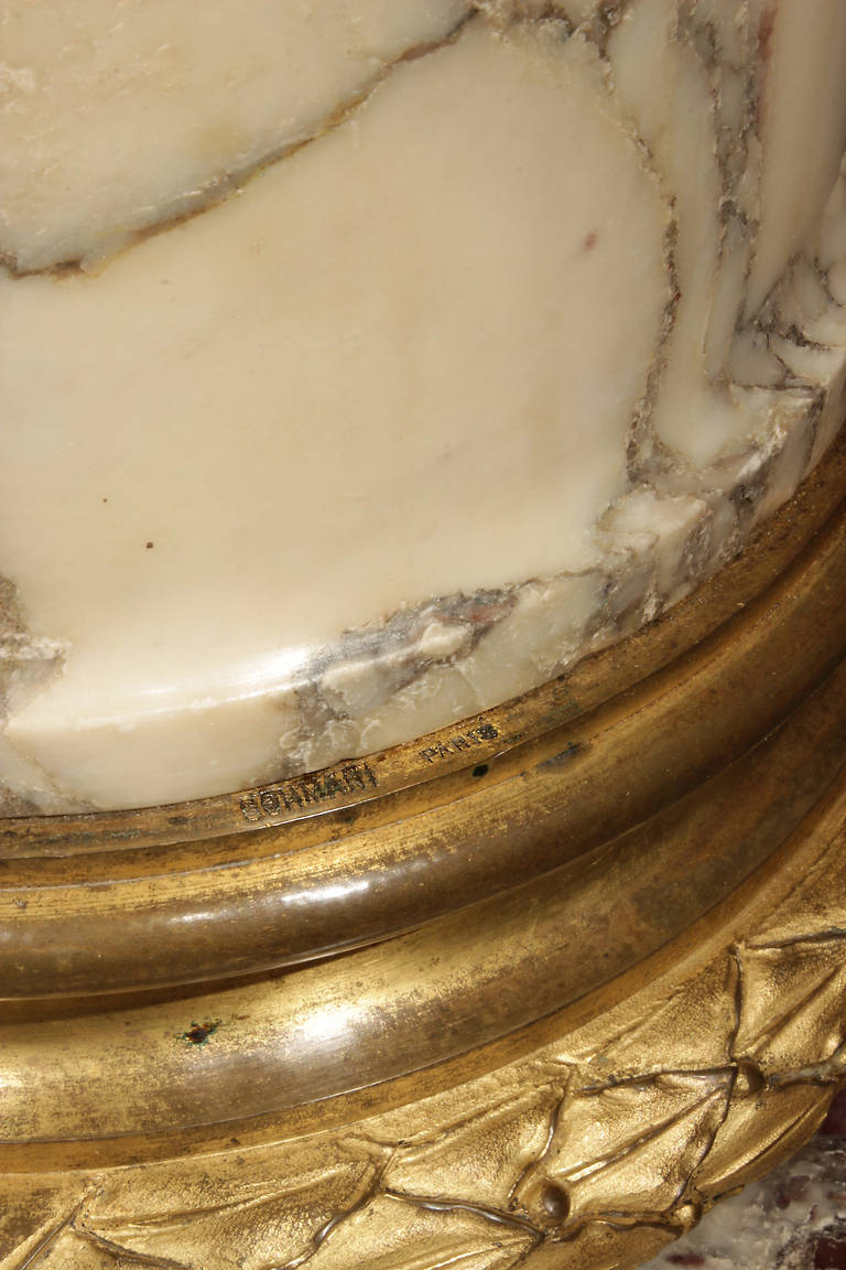 French 19th Century Fleur de Pêcher Marble and Ormolu Columns, Signed Sormani For Sale 2
