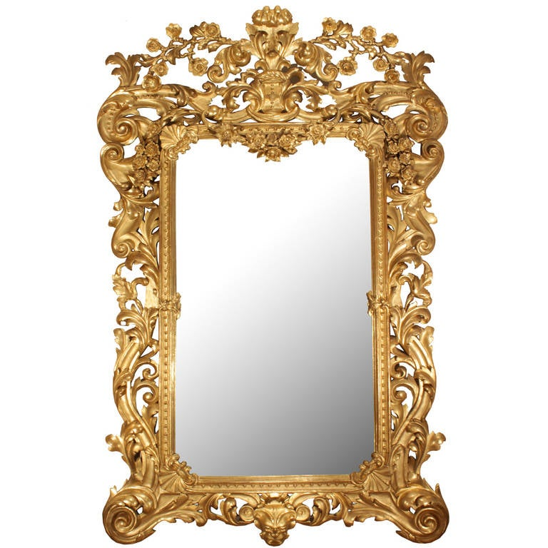 Italian 19th Century Rococo Style Giltwood Mirror At 1stdibs