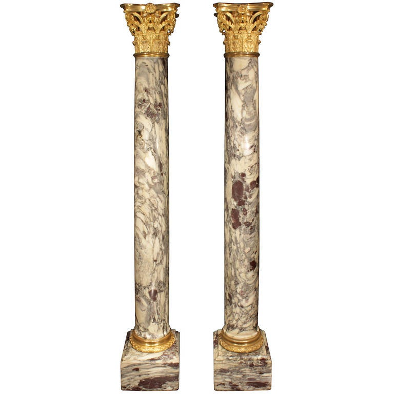French 19th Century Fleur de Pêcher Marble and Ormolu Columns, Signed Sormani For Sale