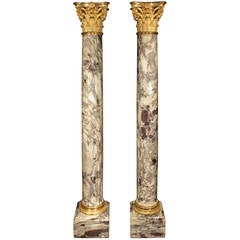 French 19th Century Fleur de Pêcher Marble and Ormolu Columns, Signed Sormani