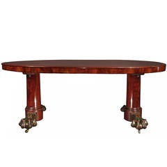 French 19th Century Neoclassical Mahogany and Patinated Bronze Center Table