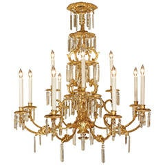Italian 19th Century Giltwood and Crystal Chandelier from Tuscany