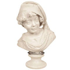 """Italian 19th Century Carrara Marble Bust of a Young Boy, Signed """"G. Branca"""""""