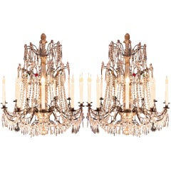 A Pair Of 19th Century Italian Crystal And Colored Glass Chandeliers