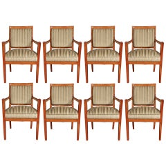 Set of Eight French Late 18th Century Cherry Wood Dining Armchairs