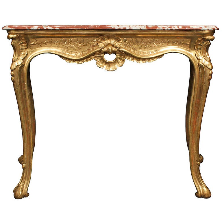 Louis XV giltwood and marble console, 18th century, offered by Cedric DuPont Antiques