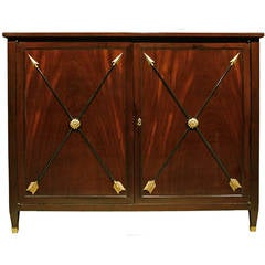 French 19th Century Louis XVI Style Mahogany, Ebony and Giltwood Cabinet