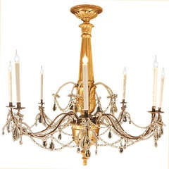 Italian 18th Century Giltwood and Crystal Chandelier
