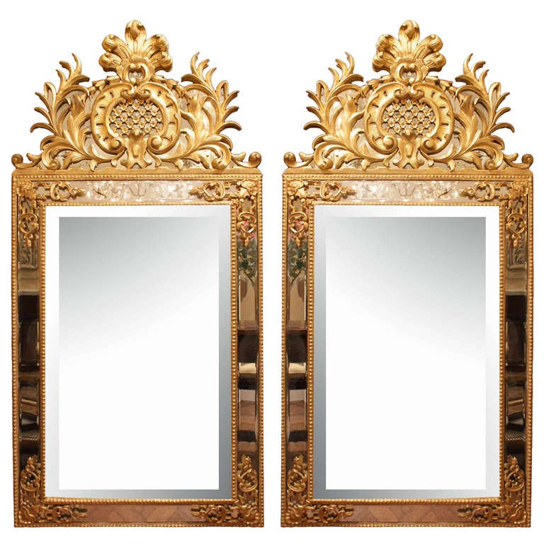 a pair of italian louis xv style mid 19th century double frame giltwood mirrors 1 - Double Picture Frame