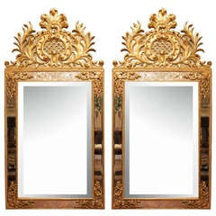 A Pair of Italian Louis XV Style Mid 19th Century Double Frame Giltwood Mirrors