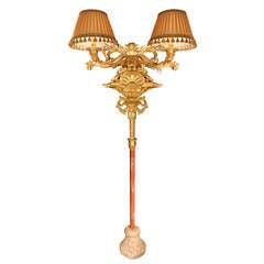 Italian Early 19th Century Giltwood Floor Lamp