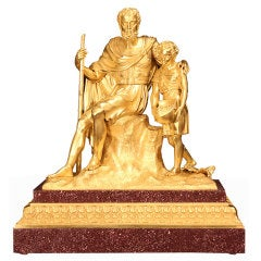 19th century French Charles X st. ormolu and porphyr statue