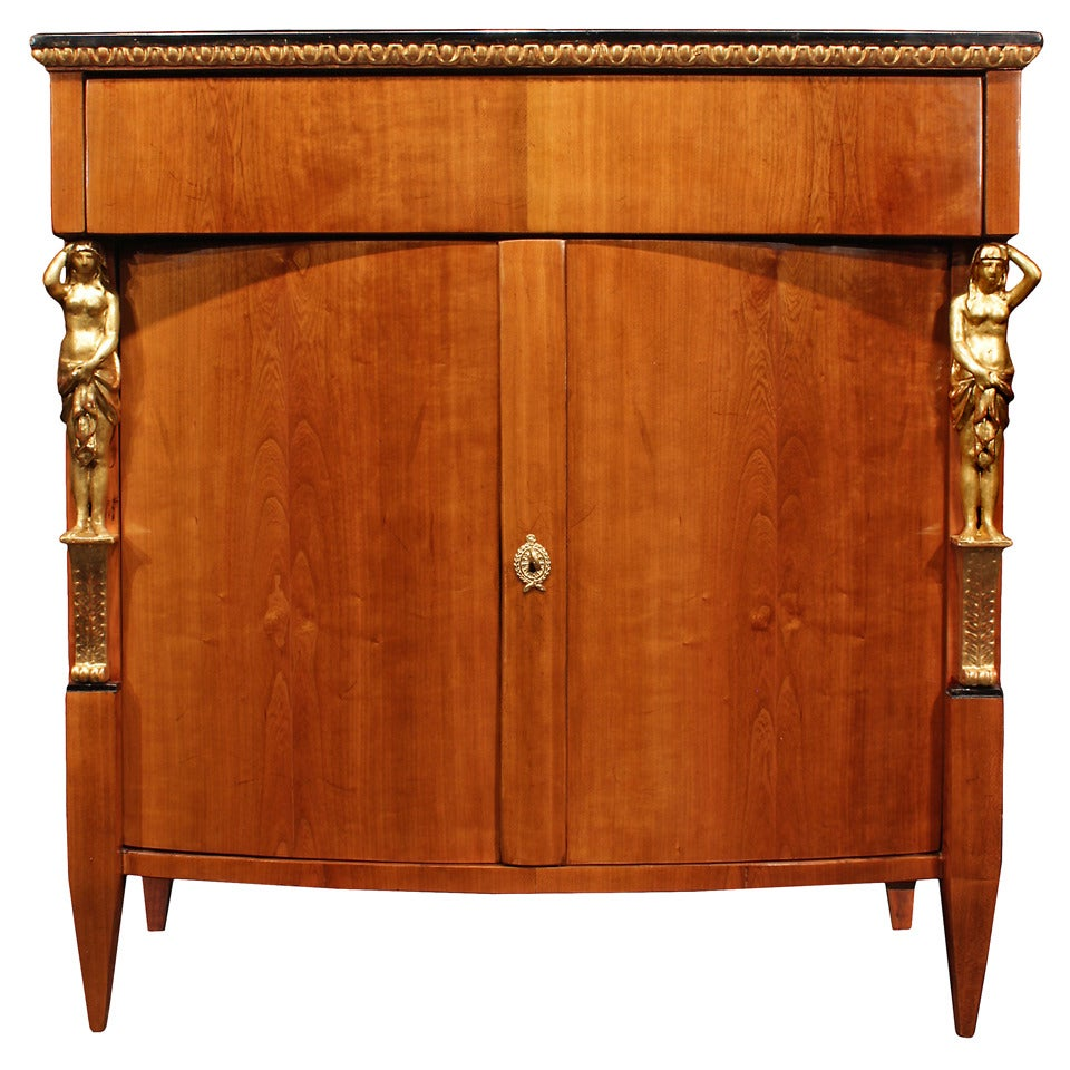 19th Century Biedermeier Two-Door Cherry Wood, Ebony and Giltwood Cabinet