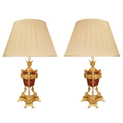 French 19th Century Louis XVI Style Rouge Griotte Marble and Ormolu Lamps