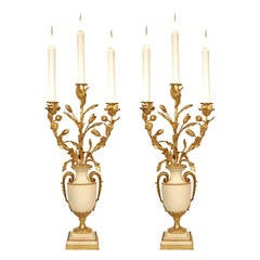French Mid-19th Century Louis XVI Style White Carrara Marble and Ormolu Lamps