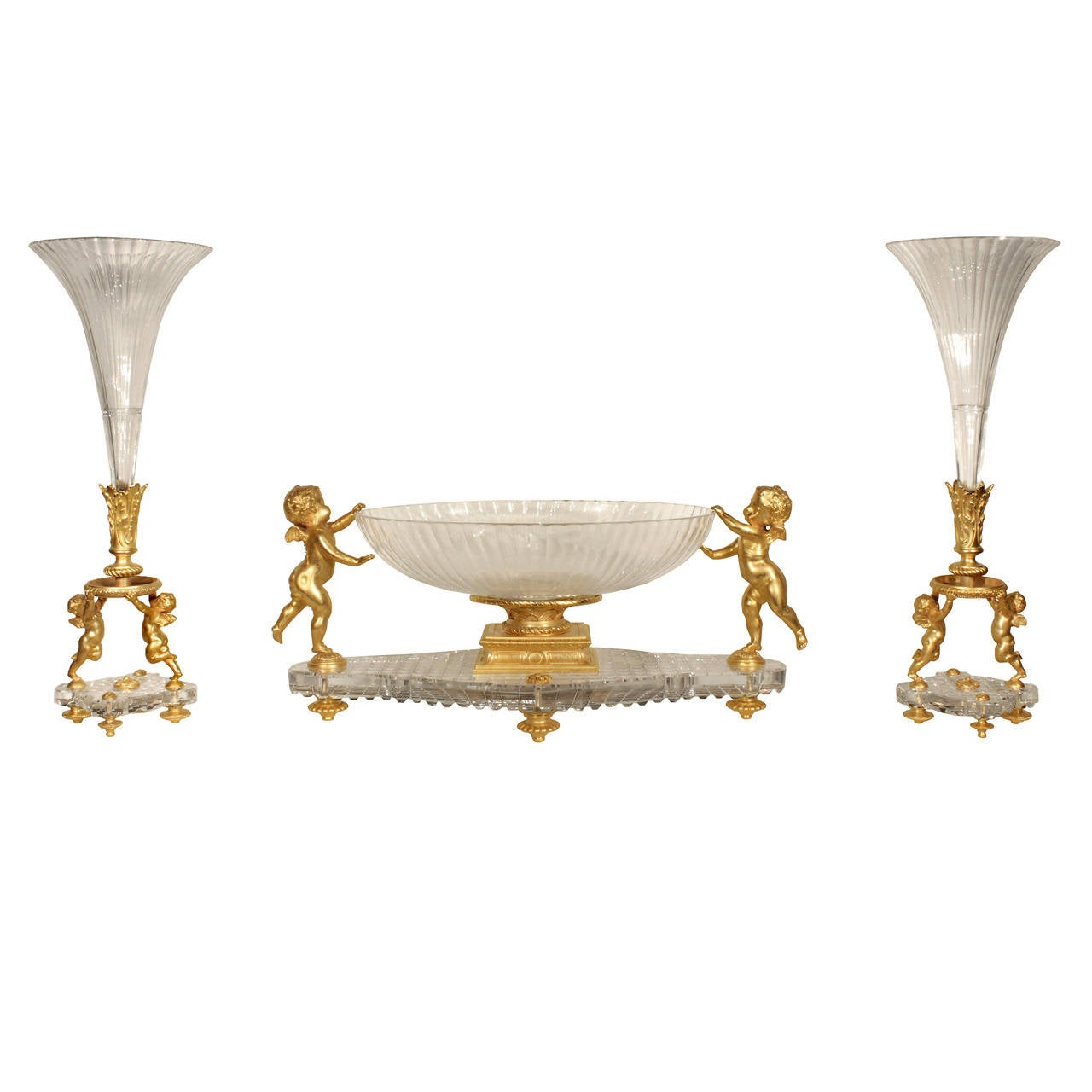 French 19th Louis XVI Style Crystal and Ormolu Centerpiece Set, Signed Baccarat