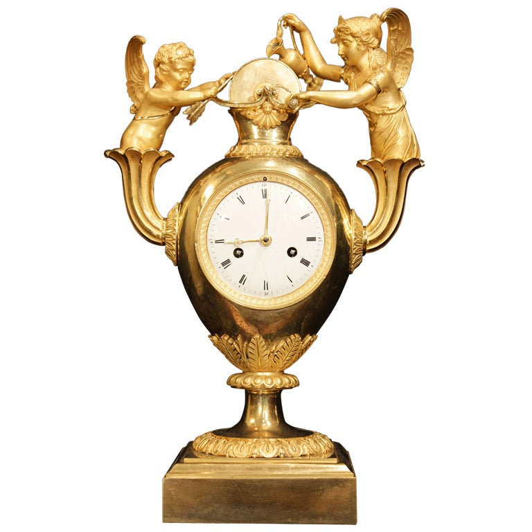 French First Empire period ormolu clock, dated 1809.