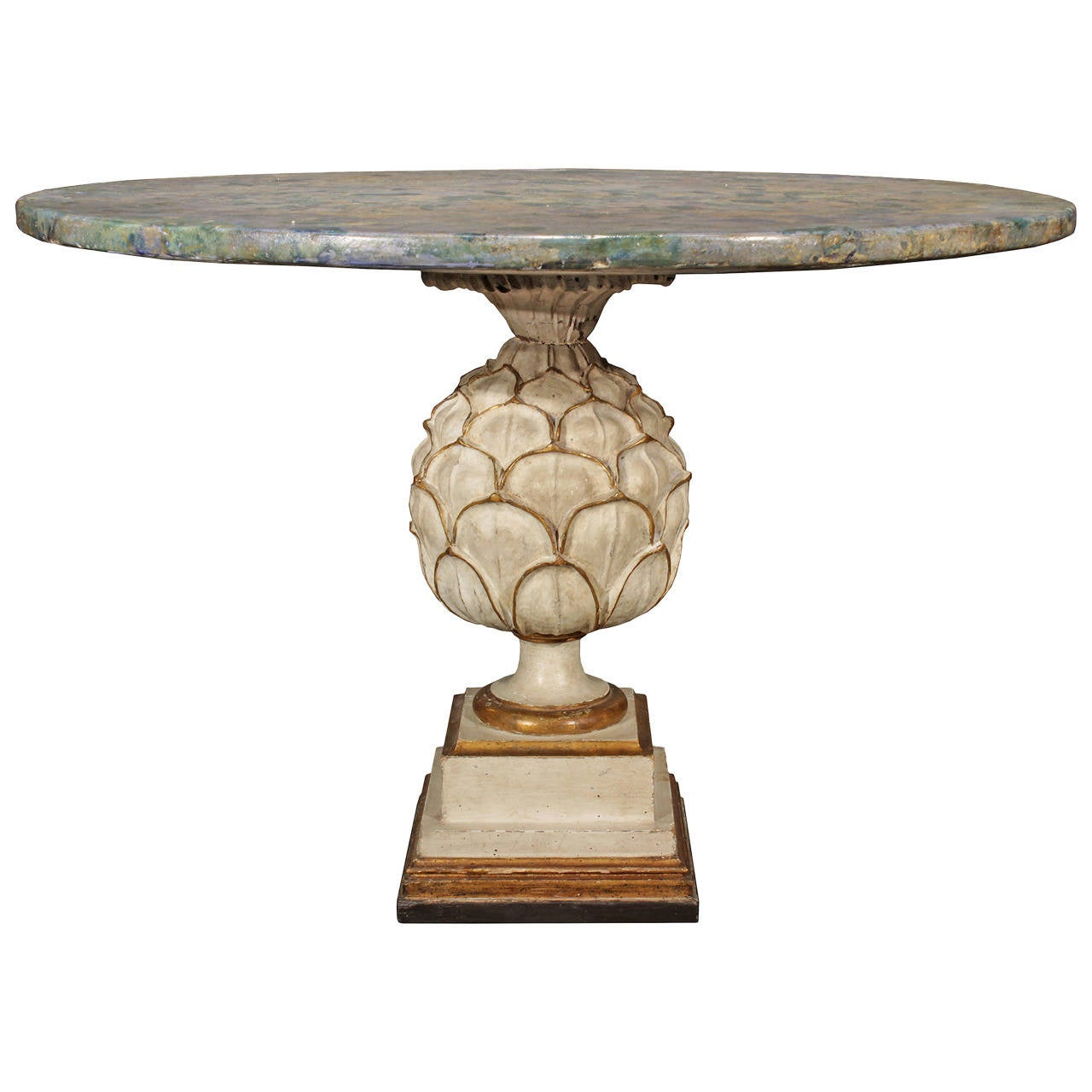 Italian Late 19th Century Patinated and Mecca Center Table