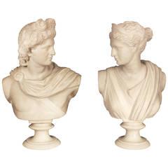 Pair of Italian 19th Century White Carrara Marble Busts of Apollo and Diana