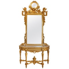 19th Century French Louis XVI st. giltwood console and mirror
