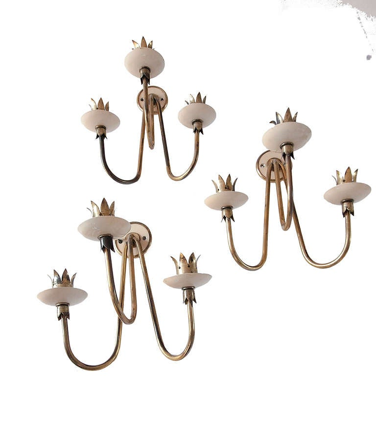 Rare Set of Three Angelo Lelli Brass and Opaline Glass Wall Lights, 1950 For Sale 1