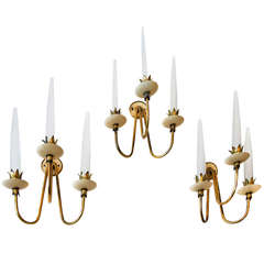 Rare Set of Three Angelo Lelli Brass and Opaline Glass Wall Lights, 1950