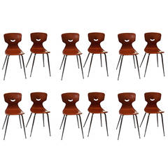 Set of 6 Adam Stegner Plywood Chairs, 1950
