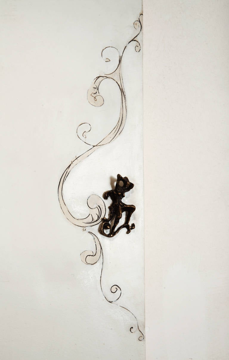Unique Lucio Fontana Pair of Painted White Doors for Borsani, Bronze Handles In Excellent Condition For Sale In Rome, IT